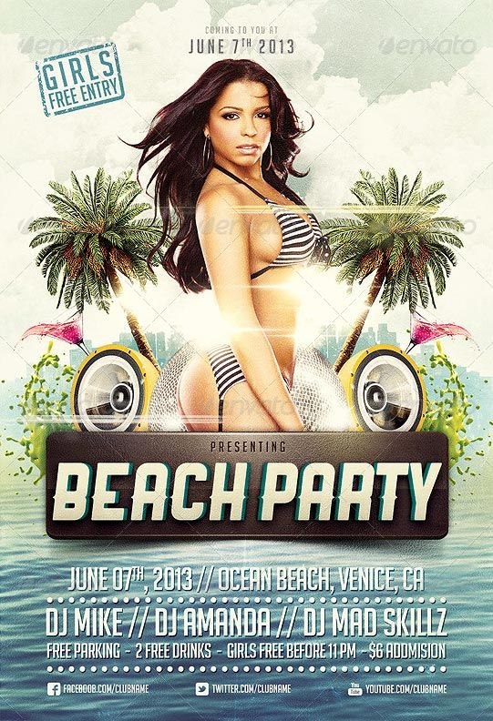 Beach Party Flyer Template http\/\/clubpartyflyer\/beach-party - party flyer