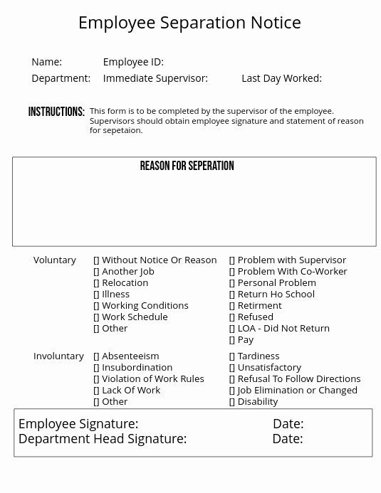 30 Employee Separation Form Template In 2020 Templates Birth