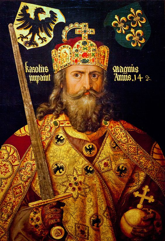 The crown of Charlemagne, crowned the first Holy Roman Emperor in 800; he's shown wearing it in this 1512 portrait by Albrecht Durer.