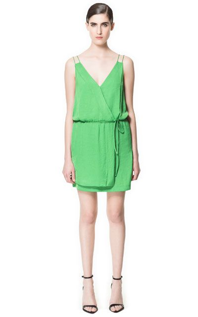 why only in green? why? DOUBLE STRAP WRAP DRESS from Zara