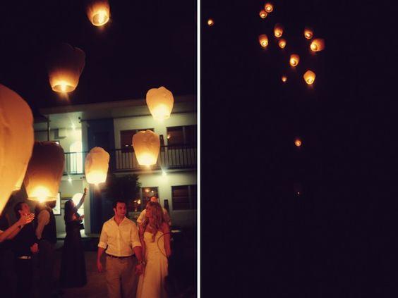 sending off lanterns
