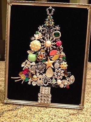 Vintage-Rhinestone-Jewelry-Christmas-Tree-Framed-stunning-art-8x10