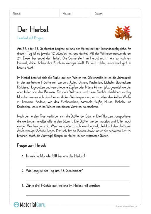 Arbeitsblatt Lesetext Zum Herbst Mit Fragen Lesen