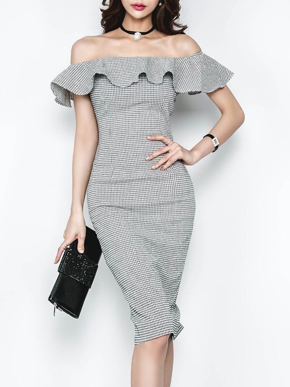 Word Collar Slit Plaid Bodycon Dress