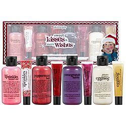 Philosophy sweet kisses and merry wishes.  flavored lip glosses and bath gels in : sugar sprinkles funnel cake, peppermint bark, pomegranate bubbly and old fashioned egg nog- so christmasy!  36.00