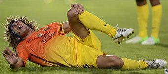 Puyol se lesiona la rodilla izquierda en Getafe y se perderá el Clásico