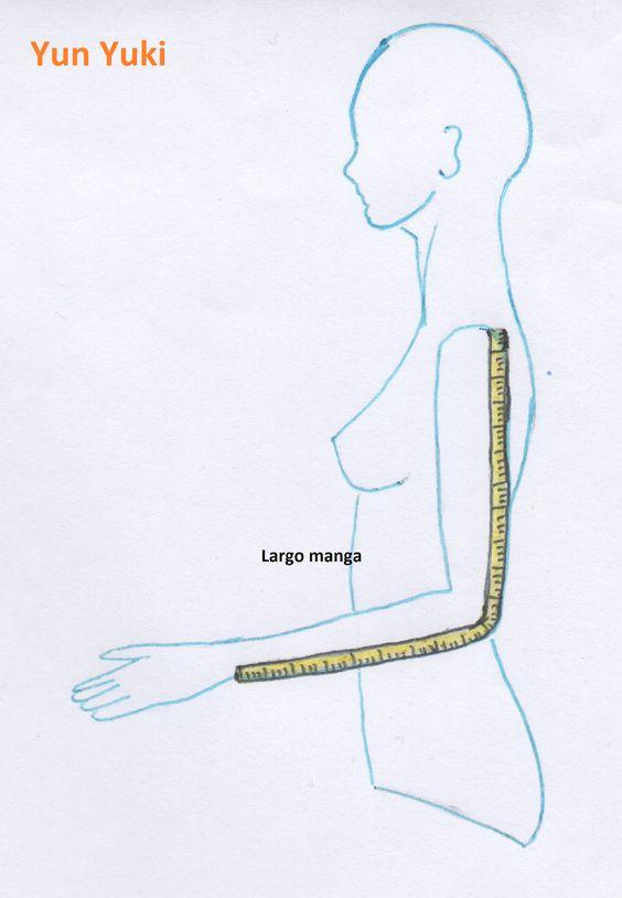 Largo pantalón / Largo falda/ Largo vestido: se mide colocando la cinta desde la cintura o bajo el cuello hasta el largo deseado, nota: ...: