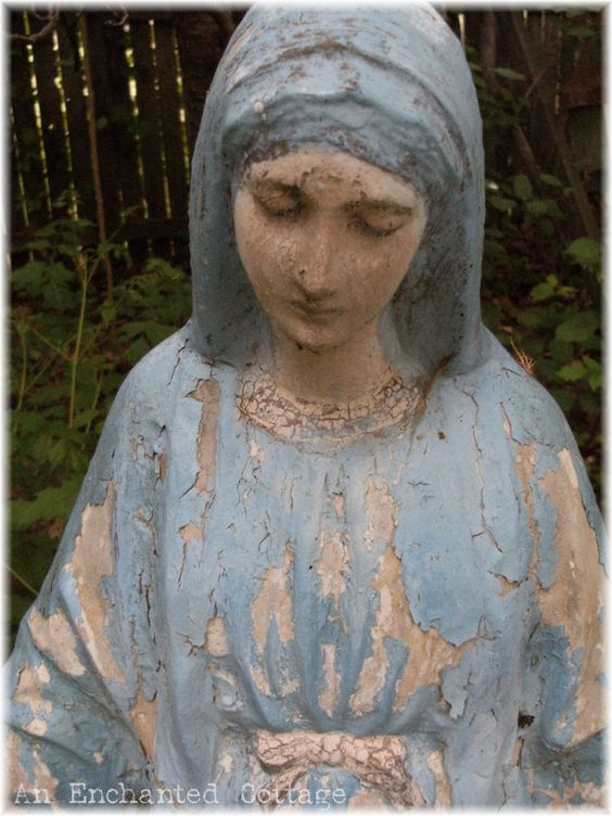 Old Garden Statue: Blessed Mother & Saints