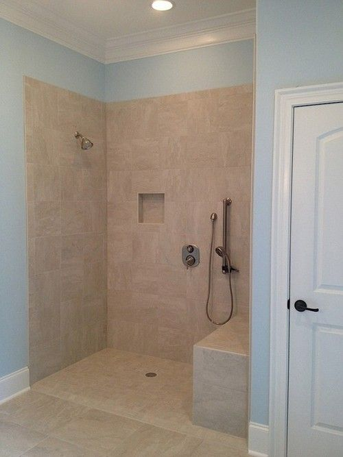 Wheelchair accessible shower in master bath controls accessible sitting or standing bathroom for Standing shower bathroom ideas