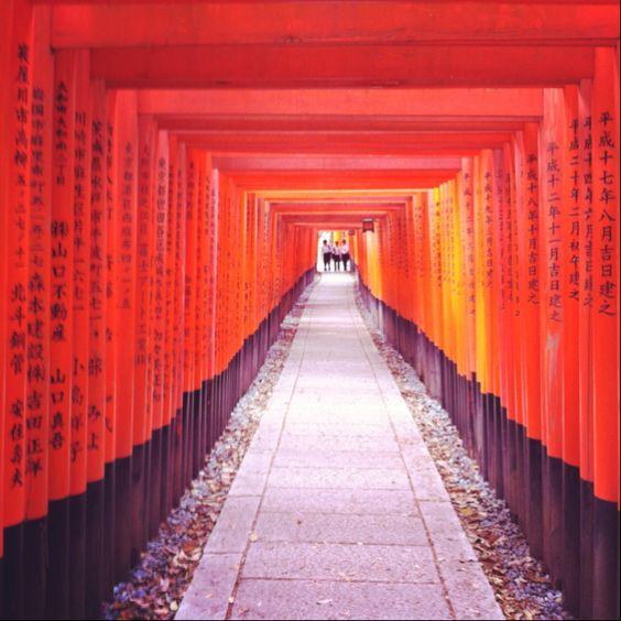 Path of sacred toriis at Fushimi-inari Taisha temple in Kyoto.
