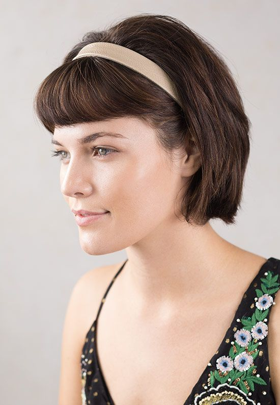 Beautiful Beige Faux Leather Hairband For A Quick And Easy Short Hair Style That Compliments Any Outfit