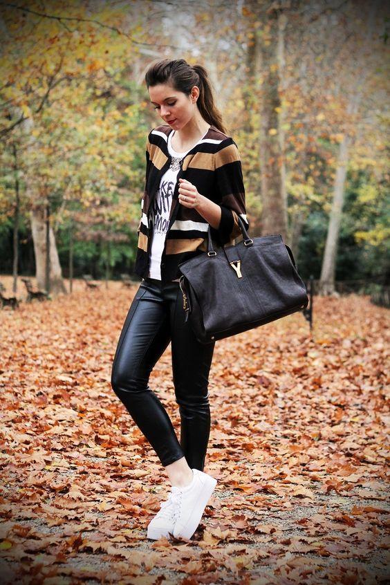 ysl bag borsa bag brown with puro music streetstyle leather pants ...