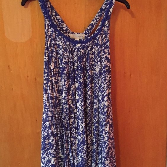Blue tank top Very stretchy tank top; light weight; blue & white; very breathable Forever 21 Tops Tank Tops