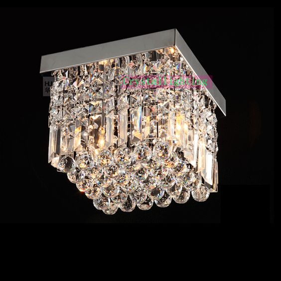 contemporary crystal flush mount crystal ceiling lighting elegant lighting square crystal lamp modern polish cheap ceiling lighting
