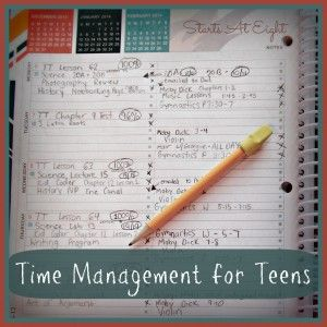 Time Management for Teens - StartsAtEight How to teach your kids to plan their own time schedule within limits and boundaries!  Let's see if this works next year!