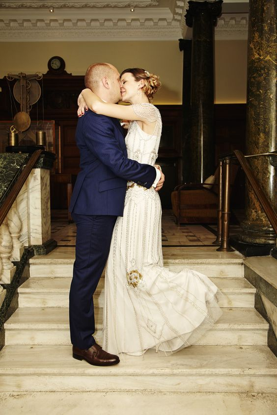 Bride & Groom Portrait - A Jenny Packham 'Eden' gown    Chic Urban City Wedding   Town Hall Hotel in Bethnal Green London   Photography by Maxwell and Malone   http://www.rockmywedding.co.uk/imogen-martin/