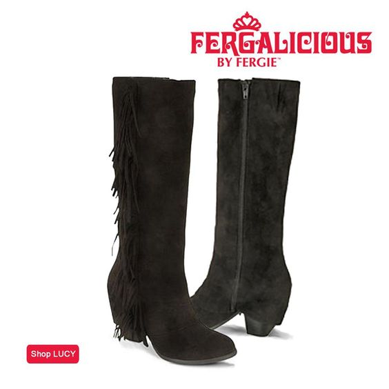 Boots look fab when you pull them over skinnies or leggings, showing off the details you wouldn't want to hide. Show off your style & rock the fringe trend in the Fergalicious by Fergie LUCY boots from Bon-Ton!