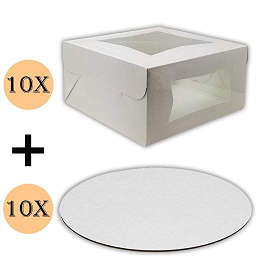 Cake Boxes 10 X 10 X 5 And Cake Boards 10 Inch Bakery Box Has Double Window Cake Board Is Round Cake Supplies 10 Pack Of Ea Box Cake Cake Boards Bakery Box