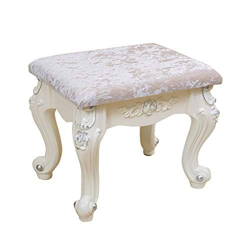 Dressing Stool Makeup Seat Baroque Piano Chair Padded Bench Chair With Plastic Steel Legs Velvet Fabric High Resilience Padded Bench Dressing Stool Chair Bench