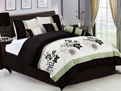 7 Piece King SAGE GREEN/BEIGE/BLACK Pin Tuck Bed In A Bag