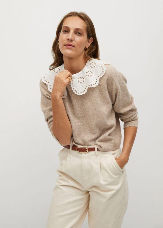 Camisola com gola de baby-doll - Cardigãs e camisolas de Mulher | Mango Portugal
