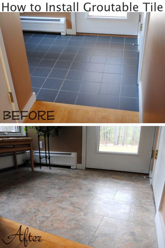 Vinyls floors and tile on pinterest for Groutable vinyl tile in bathroom