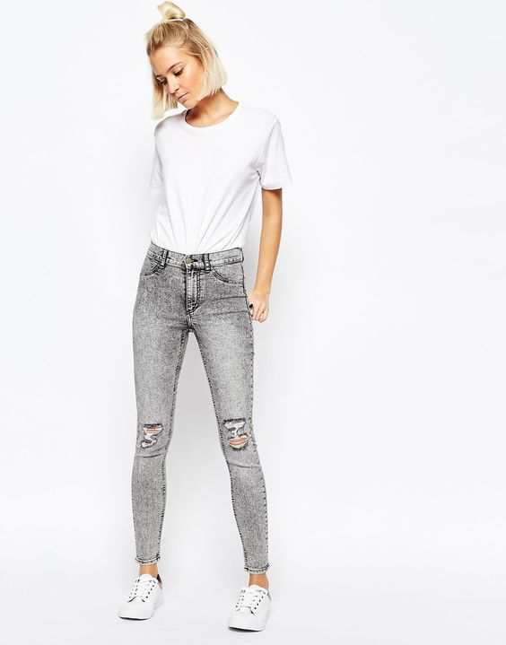 Image 1 ofCheap Monday High Spray Destroyed High Waist Superskinny Jeans