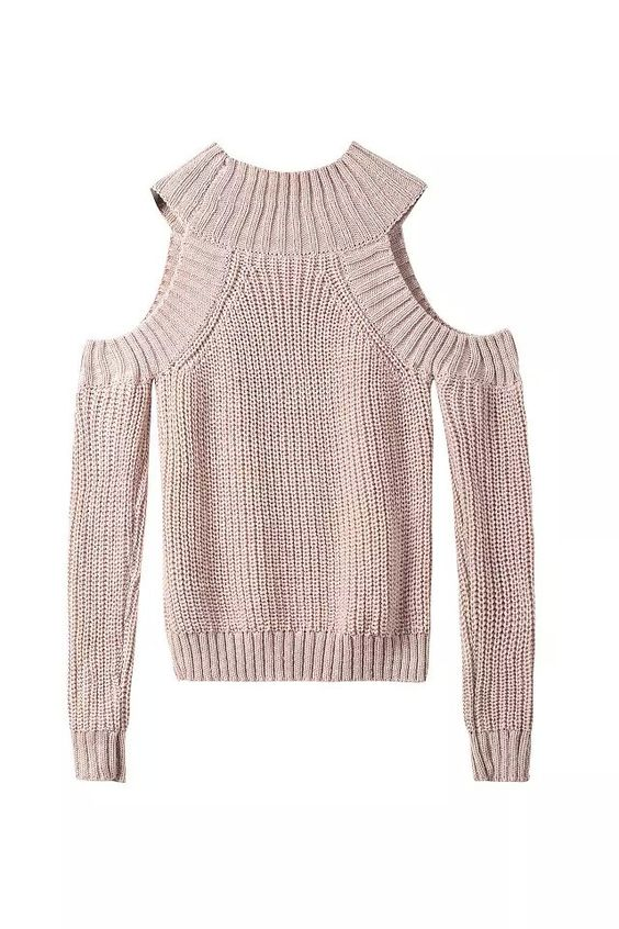 Women Sweater Exaggeration Turtleneck Off Shoulder Knitted Sweater ...