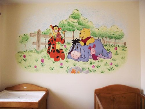 joanna perry murals winnie the pooh and friends wall. Black Bedroom Furniture Sets. Home Design Ideas