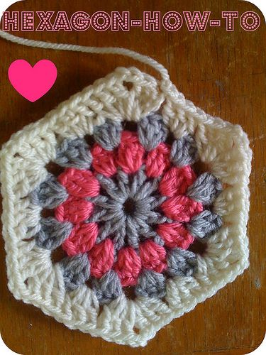 How to Crochet A Hexagon... from Meet Me at Mikes blog - you can make a bunch of things like this, hexagons, hearts, etc., and sew them together into a blanket.  Many of yall probably already know this, but it would be a great practice project for beginners!