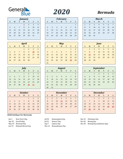 2020 Calendar Bermuda With Holidays Calendar Printables Printable Yearly Calendar Calendar Template