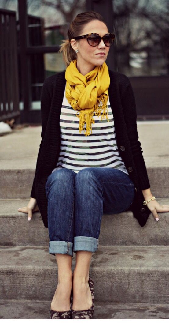 Love the color combo! Black and white top with black cardigan. The mustard yellow scarf is my favorite color for fall!  Want! Stitch fix inspiration fall and winter 2016