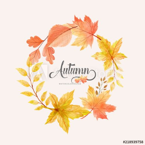 Elegant Watercolor Autumn Leaves Frame Watercolor Autumn Leaves