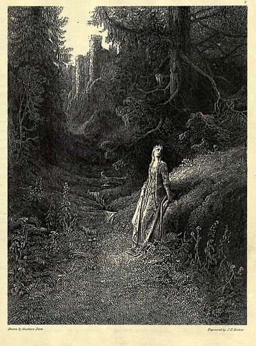 Doré, The story of Elaine, the lily maid of Astolat : from the Arthurian legends ([1879?]). 05- Elaine en su camino a la cueva