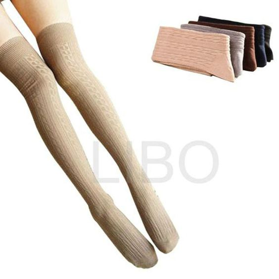 Cotton Women Girls Knit Over Knee Thigh Stockings High Socks Pantyhose Tights #Unbranded #Stockings