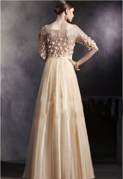 3d_beaded_top_boat_neckline_half_sleeve_champagne_lady_long_dress_women_red_carpet_gown_4.jpg (414×602)