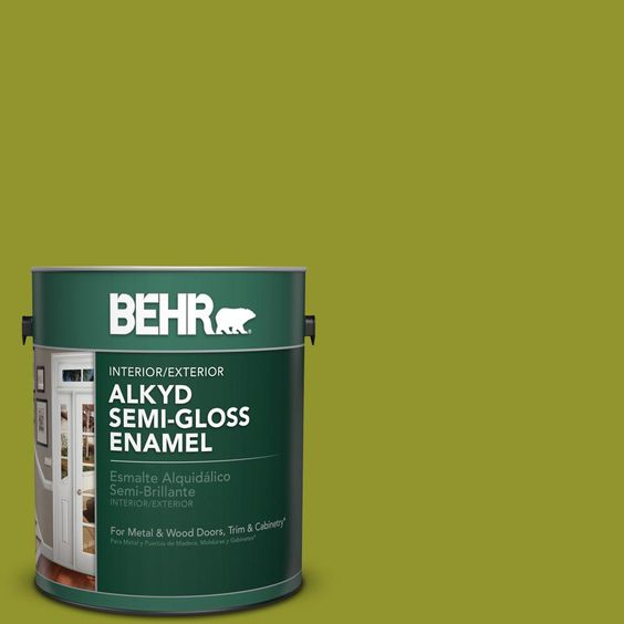 Behr 1 Gal P350 7 Lazy Lizard Urethane Alkyd Semi Gloss Enamel Interior Exterior Paint 393001 The Home Depot Exterior Paint Interior Paint Interior And Exterior