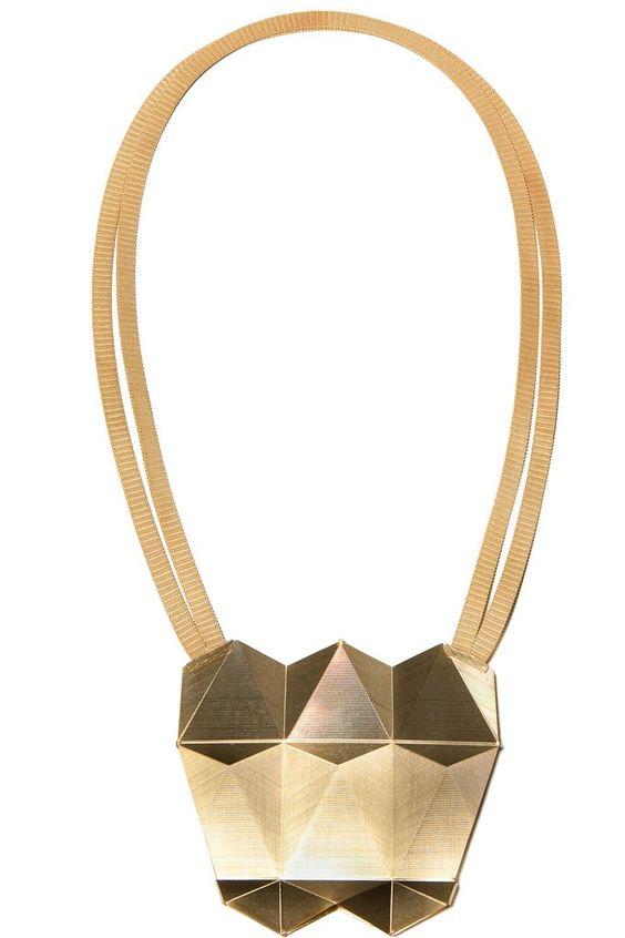Frieda Dörfer - Hochschule Pforzheim, Germany - necklace, n.t., 2013, brass, fine gold, galvanised, guilloché