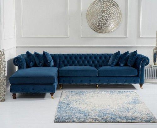 Fiona Blue Velvet Left Hand Facing Chesterfield Corner Chaise Sofa Corner Sofa And Chair Chaise Sofa Velvet Corner Sofa