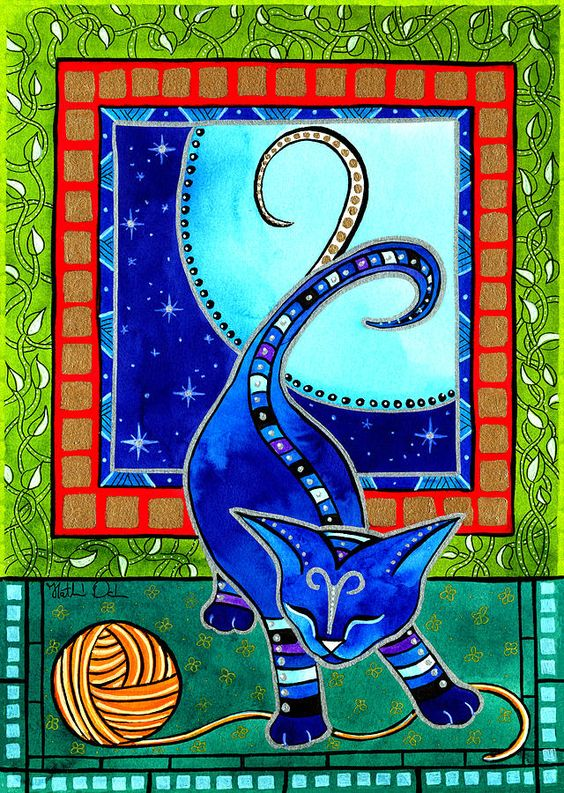 Cat Painting - Aries Cat Zodiac by Dora Hathazi Mendes