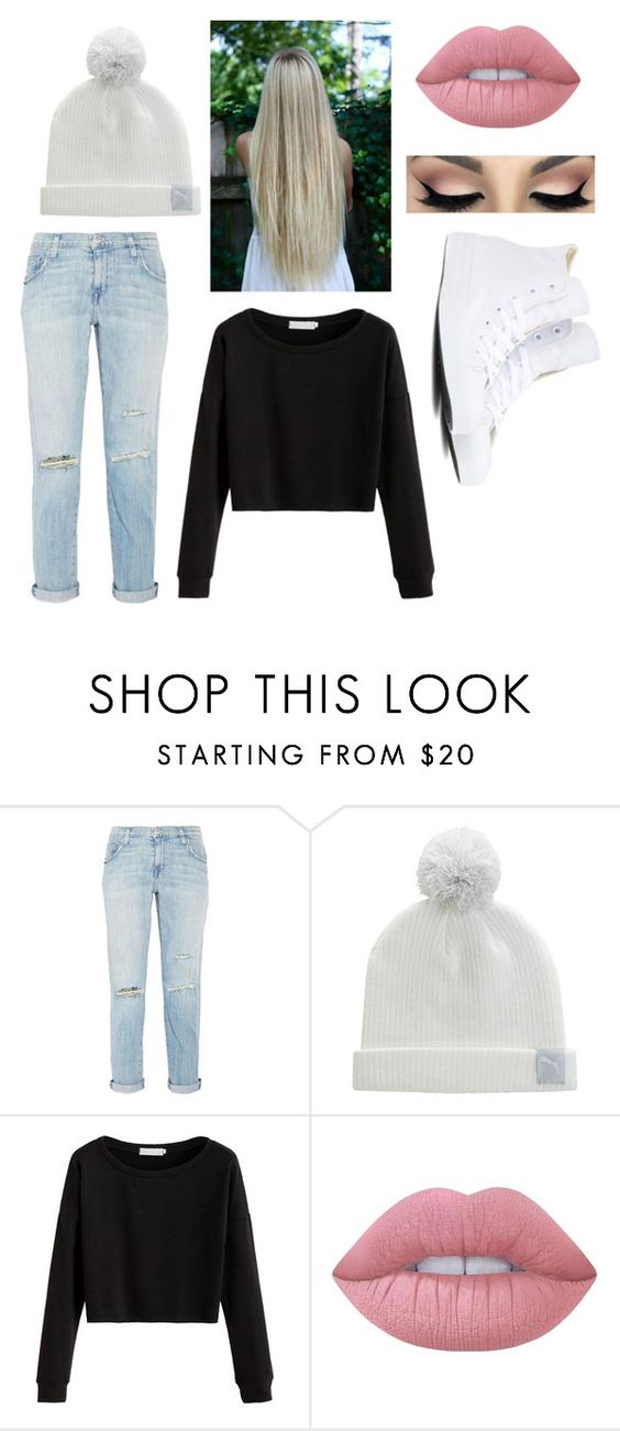 """#050"" by queen1091 ❤ liked on Polyvore featuring Current/Elliott, Puma, Lime Crime and Converse"