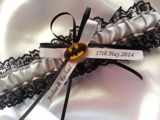 Single Batman wedding garter silver grey by JazzyRoseCreations