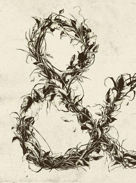 &, illustration, lettering, art, leaves, nature, teagan white
