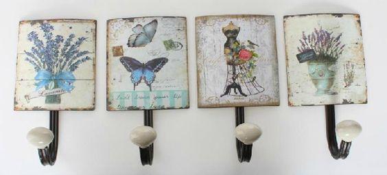 Perchero de pared estilo vintage percheros pinterest - Colgadores de cuadros ...