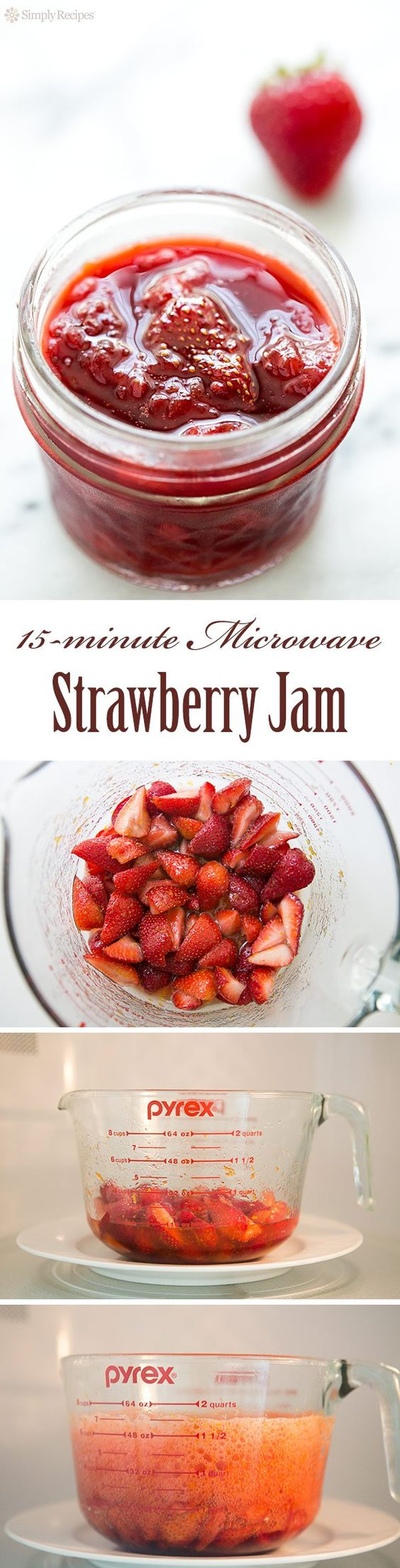 Microwave Strawberry Jam ~ So easy! Small batch strawberry jam that you make in a microwave oven. Cooks in 15 minutes! Easy cleanup. ~ SimplyRecipes.com