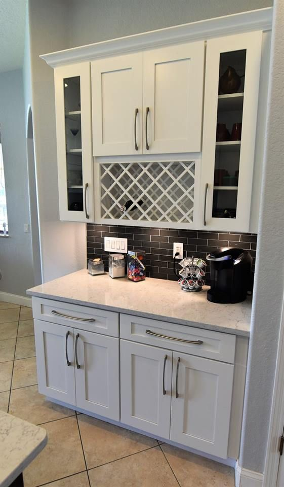 Coffee Wine Bar Built With Ice White Shaker Cabinets With Noble Carrara Quartz Counte Cabinets And Countertops Quality Kitchen Cabinets White Shaker Cabinets