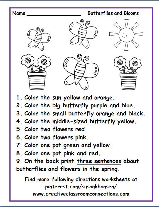 Free Following Directions Worksheet Featuring Spring Butterflies And Flowers Find Mo Follow Directions Worksheet Following Directions Kindergarten Worksheets