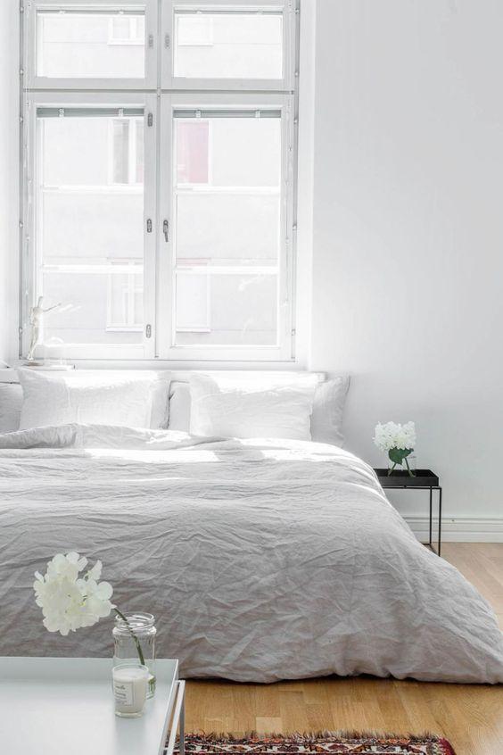 Minimal bedroom bedroom pinterest grey minimalist for Minimalist grey bedroom