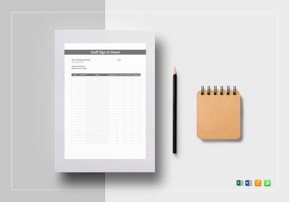 Staff Sign in Sheet Template $12 Formats Included  MS Excel, MS - excel sign in sheet template