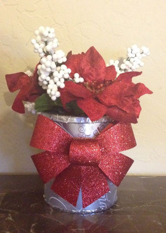 Made this Holiday decoration from an empty formula can and items from the dollar store!